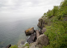 Rocky Cliff on Lake Superior stock photography