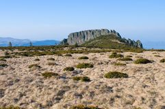 Rocky cliff with meadow Stock Photo