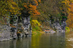 Rocky cliff of mountain river background. In autumn. colorful forest foliage reflects on a rippled water surface Royalty Free Stock Photos
