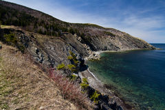Rocky Cliff off of Meat Cove Nova Scotia Royalty Free Stock Images