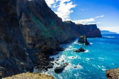 Rocky cliff on Ponta de Sao Lourenco, Madeira Island stock images