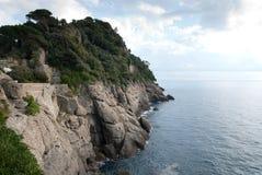 Rocky cliff in Portofino Stock Photography