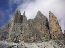 Rocky cliff towers of Dolomites Stock Photography
