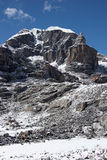 Rocky cliff of unclimbed Peak 5977, Himalaya Royalty Free Stock Photography