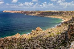 Rocky cliffs of the Atlantic Ocean west coast of Morocco Royalty Free Stock Photography