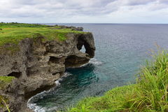 Rocky cliffs at Cape Manzamo in Okinawa Royalty Free Stock Photography