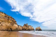 Rocky cliffs on the coast of the Atlantic ocean Royalty Free Stock Photos