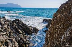 Rocky cliffs of Genoa Nervi Royalty Free Stock Image