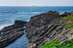 Rocky cliffs of Genoa Nervi Royalty Free Stock Photo