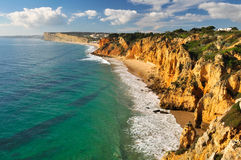 Rocky Coastline. Rocky Cliffs in Lagos, Portugal Royalty Free Stock Images