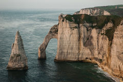 Rocky cliffs by the ocean coast. Rocky cliffs by the ocean in the west of France Stock Photography
