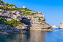 Rocky cliffs with old fort of Bonifacio, Corsica Royalty Free Stock Photography
