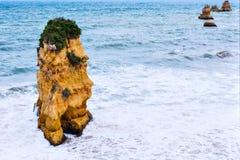 Rocky cliffs of Praia Dona Ana at Lagos, Portugal Stock Photography
