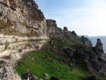 Rocky cliffs by the sea.  Tarhankut Stock Photos