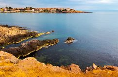 Rocky cliffs of Sozopol over the Black sea. Beautiful summer scenery and vacation concept Stock Photo
