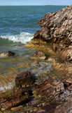 Rocky coast. Of lake Balkhash in Kazakhstan by a quiet sun canicular day Stock Image