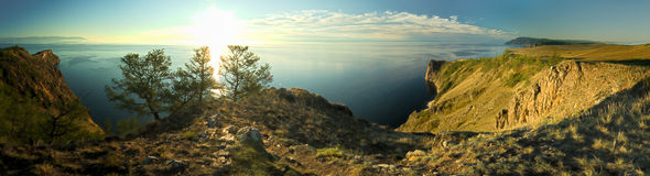 Rocky coast. Panorama of rocky coast. Lake Baikal Stock Photography