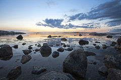 Rocky coast. Rocks and stones in the water on swedish west coast Royalty Free Stock Images