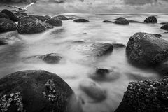 Rocky coast. In Black & White Tone Royalty Free Stock Photo