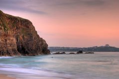 Rocky coast. Lusty beach in Newquay, Cornwall, UK stock images