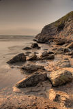 Rocky coast. Lusty Glaze beach in Newquay, Cornwall, UK stock photos