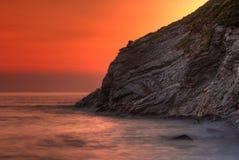 Rocky coast. Lusty Gaze beach in Newquay, Cornwall, UK stock photos