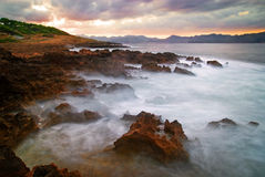 Rocky Coast. The harsh lava coast of Mallorca Stock Photos