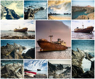 Rocky coast and abandoned ships in Lanzarote Royalty Free Stock Photos