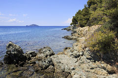 Rocky coast of the Aegean Sea. Royalty Free Stock Photography