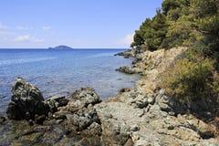 Rocky coast of the Aegean Sea. Royalty Free Stock Photography