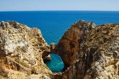 Rocky coast of the Algarve near Lagos Royalty Free Stock Photos
