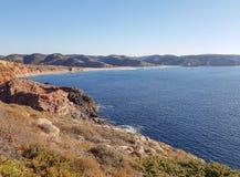 Rocky coast in the Algarve stock image