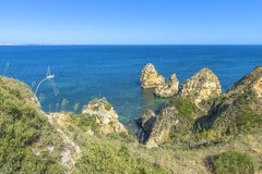 Rocky Coast in Algarve Stock Photography