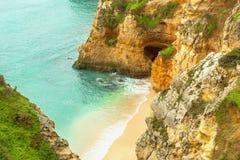 Rocky coast Algarve southern Portugal. Rocky coast Bay  Algarve southern Portugal Stock Photos