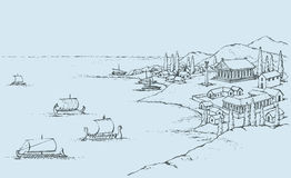 Rocky coast with ancient Greek buildings. Vector sketch Royalty Free Stock Photography