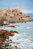 Rocky coast of Antibes, France. French Riviera. Cote d'Azur. Royalty Free Stock Photography