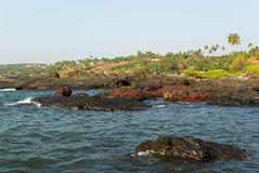 Rocky coast of Arabian sea in Goa Stock Image