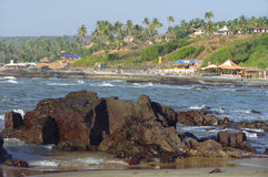 Rocky coast of Arabian sea in Goa Stock Photography