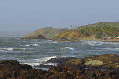 Rocky coast of Arabian sea in Goa Royalty Free Stock Image