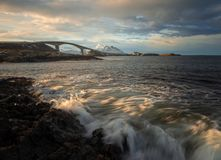 Rocky coast by the Atlantic Ocean Road in Norway. Long exposure shots stock photos