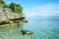 Rocky coast of Bantayan Island in Philippines stock photos