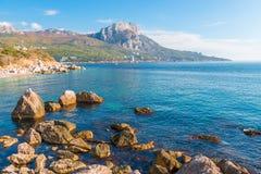 Rocky coast of the Black Sea, Crimean landscape - Laspi bay. Russia royalty free stock photo