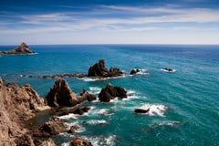 Rocky coast of cabo the gata Stock Photos