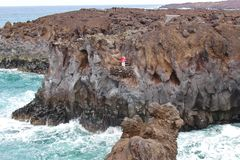 Rocky coast called Los Hervideros on Lanzarote. Royalty Free Stock Image