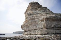Rocky coast of Cape Tarhankut in Crimea Stock Photos
