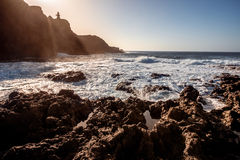Rocky coast on the cape Teno Royalty Free Stock Photo