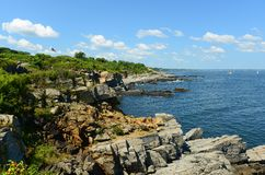 Rocky Coast at Casco Bay, Maine Stock Photos
