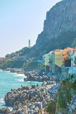 Rocky coast in Cefalu stock photography