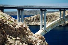 Concrete bridge connecting two Croatian islands royalty free stock photos