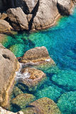 Rocky coast with clean blue see-through water. Portofino, Italy Stock Photography